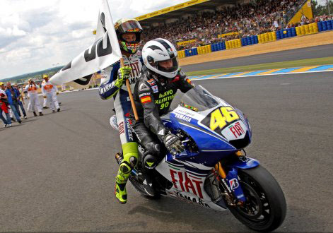 Valentino Rossi And Angel Nieto Celebrate 90th Win