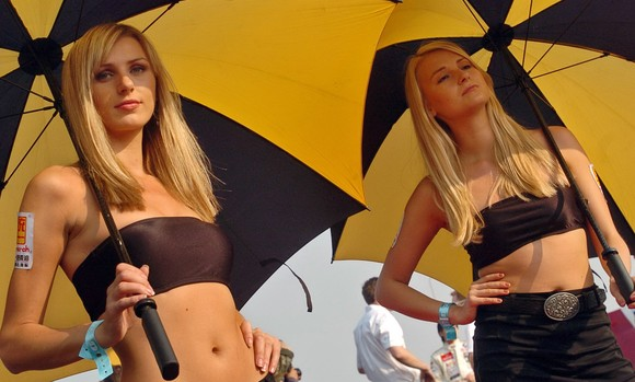2 umbrella girls blondes sexy