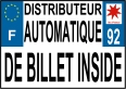 Plaque d'immatriculation distributeur de billet