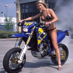 Blonde bikini burn supermotard