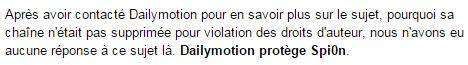 Dailymotion Fermeture de la chaîne Dailymotion de Spi0n