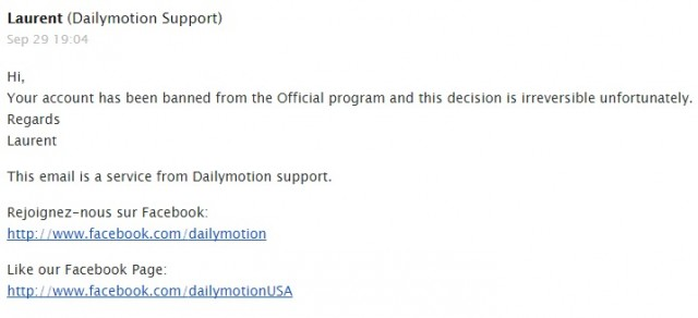 Dailymotion Official refused ban