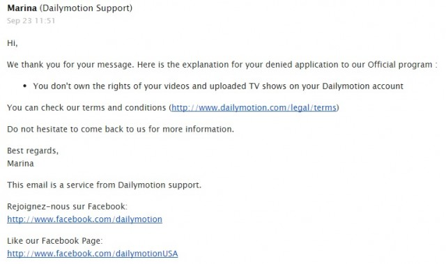 Dailymotion Official refused reason