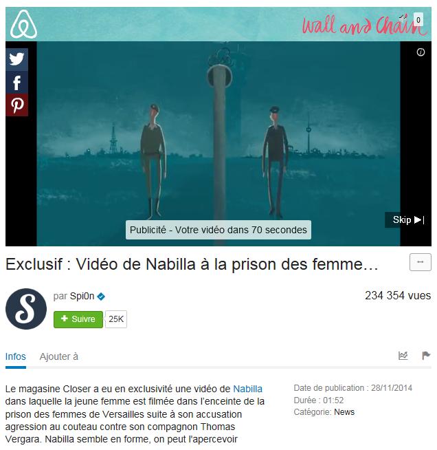 Monétisation de la vidéo de Nabilla en prison