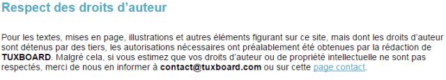 Respect des droits d'auteur par Tuxboard